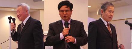 副会長候補者選挙の演説から、小川氏(左)・及川氏(中央)・伊藤氏(右)。
