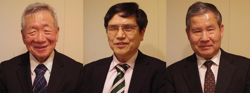竹下義樹日盲連会長を支える3名の副会長たち、左から小川幹雄副会長・及川清隆副会長・伊藤和男副会長です。