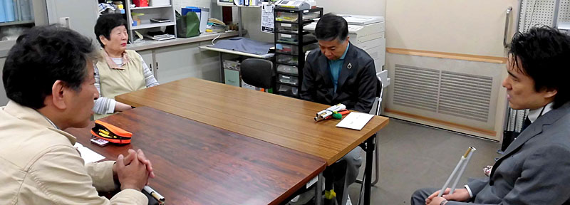 4月27日・28日、日本盲人会連合 藤井貢組織部長が、熊本・大分の両県を訪問。写真は、社会福祉法人 熊本県視覚障がい者福祉協会でのヒアリングの模様です。