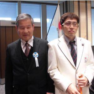 左が日盲連伊藤副会長、右が高村選手